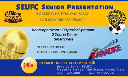 SEUFC Senior presentation september 28th 2019 flyer